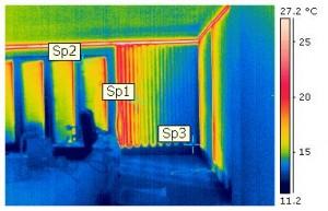 Thermische Überprüfung einer Wandheizung